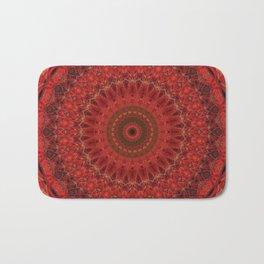 Mandala in pastel red and orange tones Bath Mat