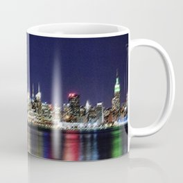 Midtown Manhattan Reflecting on the East River Landscape Painting by Jeanpaul Ferro Coffee Mug