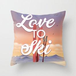 Love to Ski Throw Pillow
