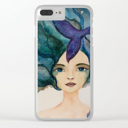 Watercolor Mermaid Blue Green Hair Clear iPhone Case