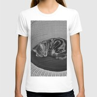 sofa T-shirts featuring sleeping cat on sofa by gzm_guvenc