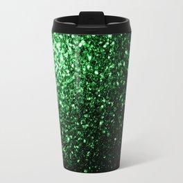 Glamour Dark Green glitter sparkles Travel Mug