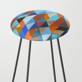 Triangle Pattern no.18 blue and orange Counter Stool