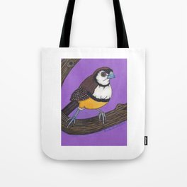 Owl Finch on Branch with Purple Sky, colored pencil, 2010 Tote Bag