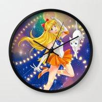 sailor venus Wall Clocks featuring Sailor Venus  by Moonsia