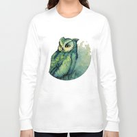 teagan white Long Sleeve T-shirts featuring Green Owl by Teagan White