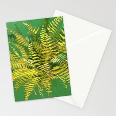 Golden Fern, floral art, green and yellow Stationery Cards