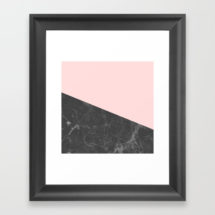 Marble Geometric Blush Pink Gray Black Gerahmter Kunstdruck