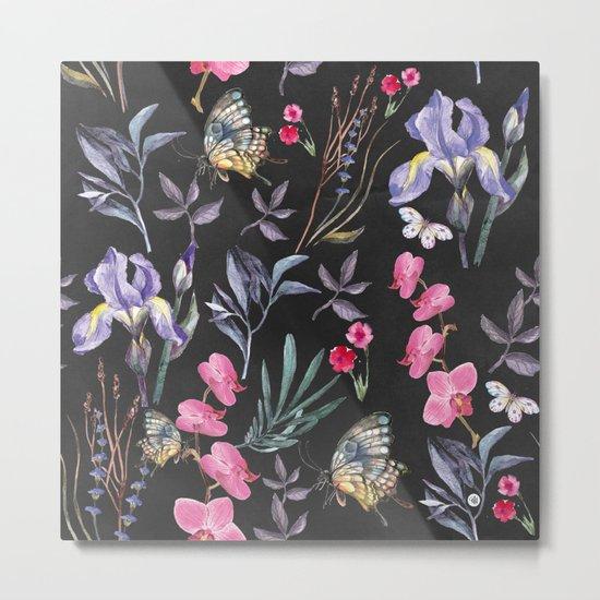 Pattern of plants, flowers and butterflies Metal Print