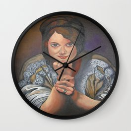 A Young German Woman In Traditional Dress Wall Clock