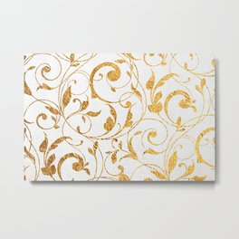 Gold Leaf Floral on White Stone Metal Print
