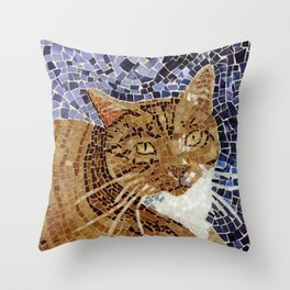 Tiger Cat - Stained Glass Mosaic Throw Pillow