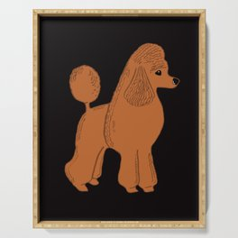 Apricot Poodle on Black Serving Tray