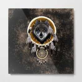 Indian Native Gray Wolf Dreamcatcher iPhone 4 5 6 7, ipod, ipad, pillow case and tshirt Metal Print