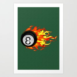 Flaming 8 Ball Art Print