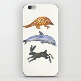 Pangolin, dolphin and a hare iPhone Skin