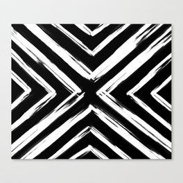 Minimalistic Black and White Paint Brush Triangle Diamond Pattern Canvas Print
