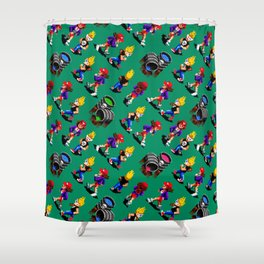 Monsters hunters pattern | zamn02gg | retro gaming vintage Shower Curtain