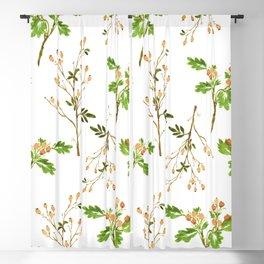 Watercolor Soft Orange Berry Twig Pattern Blackout Curtain