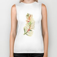 feather Biker Tanks featuring Feather by Klara Acel