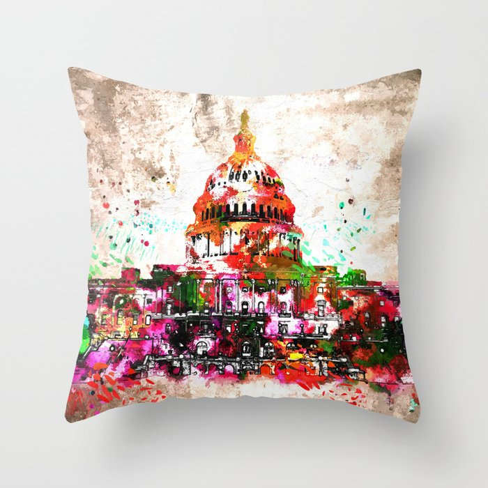 United States Capitol Grunge Throw Pillow