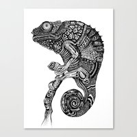 chameleon Canvas Prints featuring Chameleon  by Rebexi