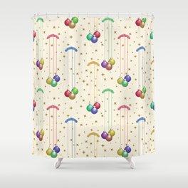 Colorful Christmas balls,gold stars SB9 Shower Curtain