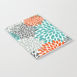 Floral Pattern, Abstract, Orange, Teal and Gray Notebook
