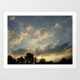 August skies falling into dark Art Print