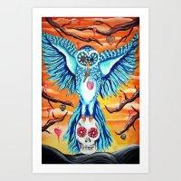 The collector, owl art graveyard skull Art Print