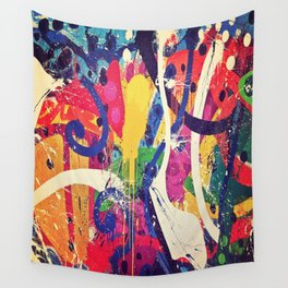 Street Art Paint Splatter Bold Colors  Wall Tapestry