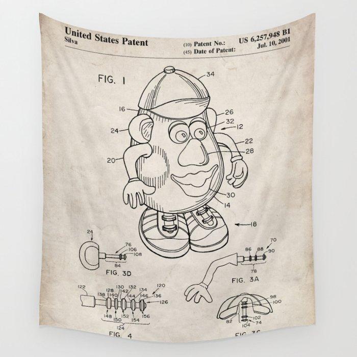 Mr Potato Head Patent - Potato Head Art - Antique Wall Tapestry
