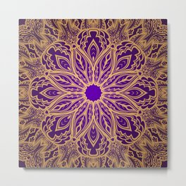 Violet abstract lace ornament Metal Print