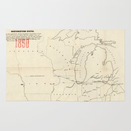 Railroad & The Northwestern States in 1850 Rug
