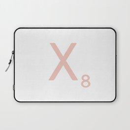Pink Scrabble Letter X - Scrabble Tile Art and Accessories Laptop Sleeve