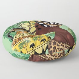 African woman,vase ,fashion art ,light green background ,round earrings. Floor Pillow