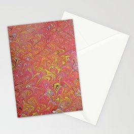 Red Abstract Water Marbling Stationery Cards