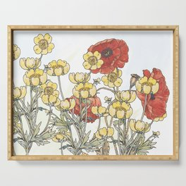Buttercup and poppy watercolour Serving Tray