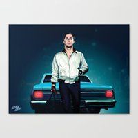ryan gosling Canvas Prints featuring 'Drive' Ryan Gosling by Studio Caro △