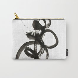 smear of black paint // modern abstract art // minimalism // black and white // stylish, loft style Carry-All Pouch