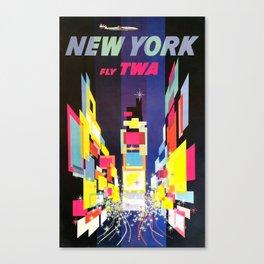 New York fly TWA - Vintage Poster Canvas Print