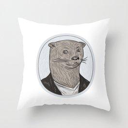 Otter Head Blazer Shirt Oval Drawing Throw Pillow
