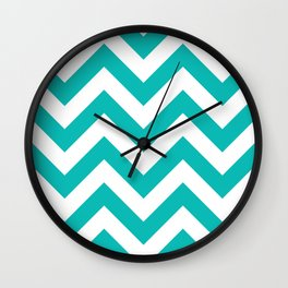 Large chevron pattern / tiffany blue Wall Clock