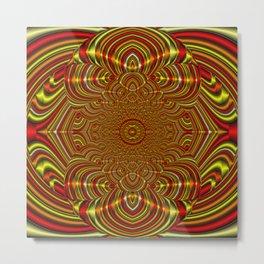 Peace Mandala - Ruby & Gold Metal Print