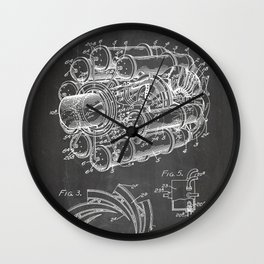 Airplane Jet Engine Patent - Airline Engine Art - Black Chalkboard Wall Clock