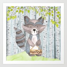 The adorable Racoon- Woodland Friends- Watercolor Illustration Art Print