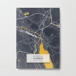 Zurich Switzerland City Map with GPS Coordinates Metal Print