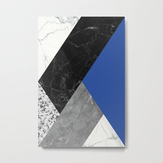 Black and white marbles and pantone lapis blue color Metal Print