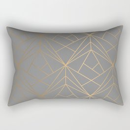 Charcoal Gold Geometric Pattern With Metallic Shimmer  Rectangular Pillow