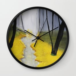 In the Yellow Woods Wall Clock